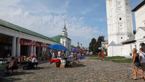 Central plaza of Suzdal city Stock Video Footage
