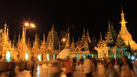 Shwedagon Pagoda night timelapse Stock Video Footage
