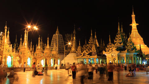 Shwedagon Pagoda night timelapse Footage
