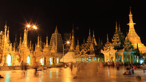 Shwedagon Pagoda night timelapse Stock Video Footage