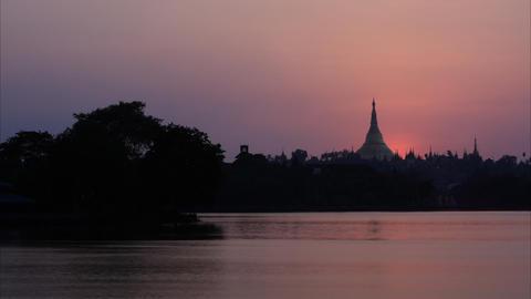 Shwedagon Pagoda sunset timelapse Stock Video Footage