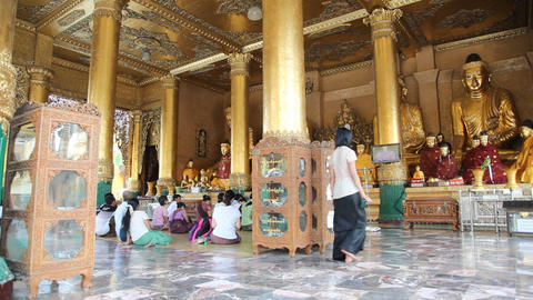 Visitors in Shwedagon Pagoda Footage