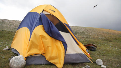 Camping in Mongolian Altai at Khoton Nuur lake Stock Video Footage
