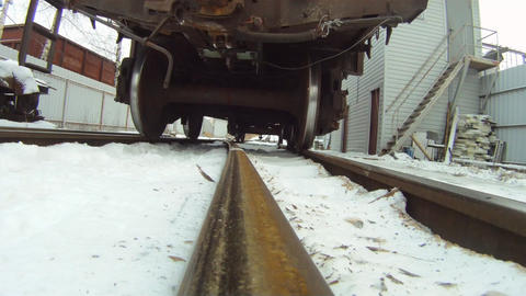 Train coupling system crash test ( bottom view ) Stock Video Footage