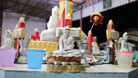 Buddha inside Chauk Htatt Ghyee pagoda in Yangon Stock Video Footage