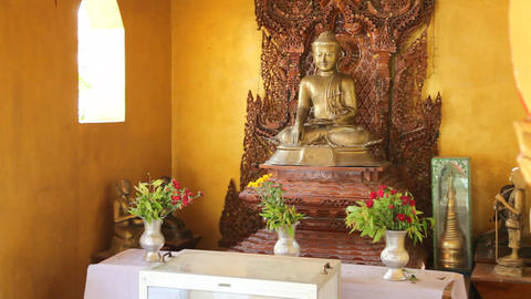 Buddha inside pagoda in Bagan Stock Video Footage