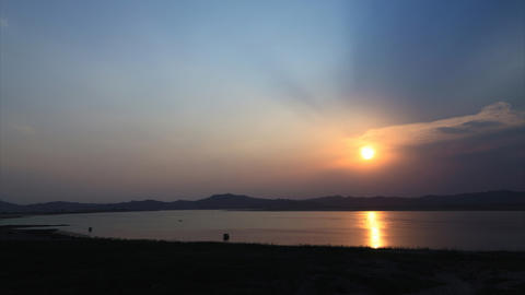 Irrawaddy river sunset timelapse Stock Video Footage