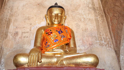 Gold Buddha inside pagoda in Bagan Stock Video Footage