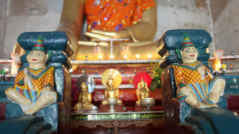 Buddhas inside pagoda in Bagan Stock Video Footage