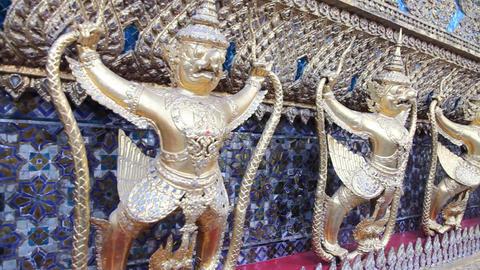 Sculpture of Rakshasa in Temple of the Emerald Buddha Stock Video Footage