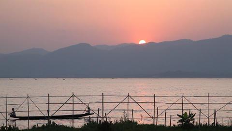 Inle lake sunset Stock Video Footage