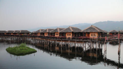 Bungalows on Inle lake Stock Video Footage
