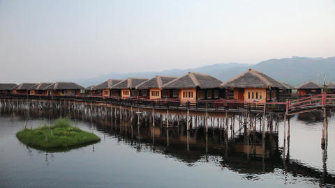 Bungalows on Inle lake Footage