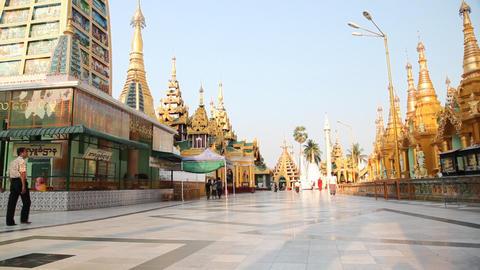 Visitors in Shwedagon Pagoda Stock Video Footage