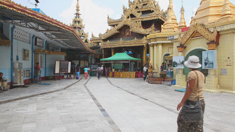 Visitors in Sule Pagoda Stock Video Footage