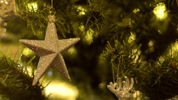Christmas Tree Star Ornament Stock Video Footage
