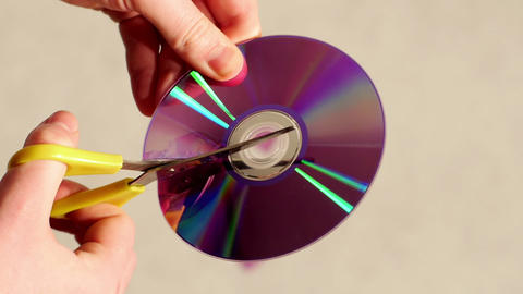 Cut CD or DVD Stock Video Footage