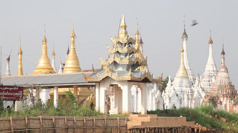 Pagoda on Inle lake, Myanmar Stock Video Footage