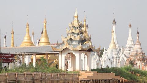 Pagoda on Inle lake, Myanmar Footage