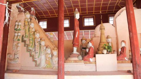 Buddhas in Takhaung Mwetaw Paya pagoda, Inle lake Stock Video Footage
