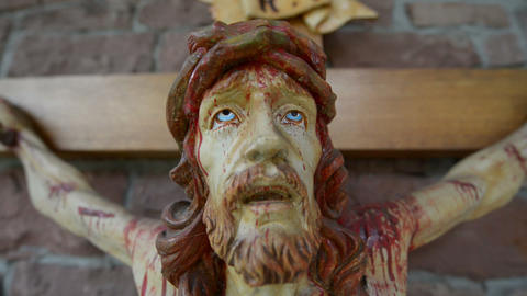 very bloody scary jesus on the cross super close 10930 Footage