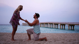 Beach Proposal Stock Video Footage