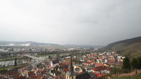 tilt in shot sky to Klingenberg am Main super wide 10931 Stock Video Footage