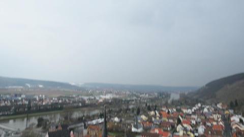 tilt out shot Klingenberg am Main to sky super wide 10933 Stock Video Footage