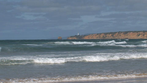 Beach and light house at the Great Ocean Road Stock Video Footage