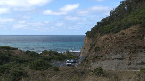 Car, bus and motor driving at the Great Ocean Road Footage
