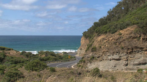 Gray car driving at the Great Ocean Road Stock Video Footage