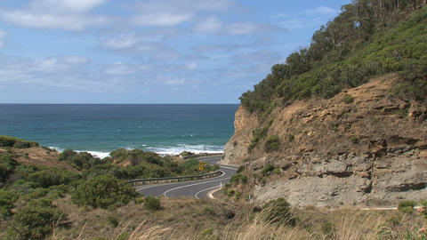 Gray car driving at the Great Ocean Road Footage