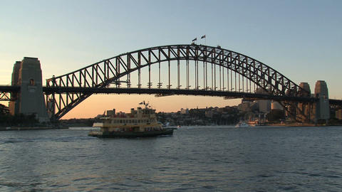 Ferry leaving sydney harbor during sunset Footage