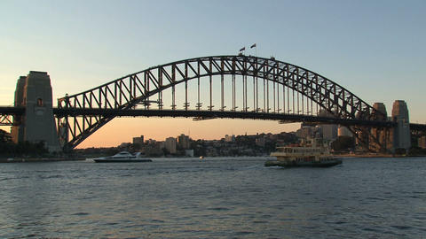 Ferry leaving sydney harbor during sunset Stock Video Footage