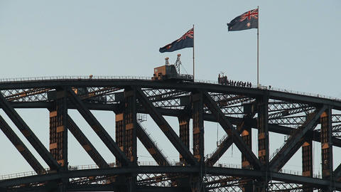 Flags at the Harbour Bridge Stock Video Footage