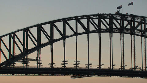 Harbor bridge with people Stock Video Footage