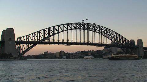 Harbor bridge sunset Stock Video Footage