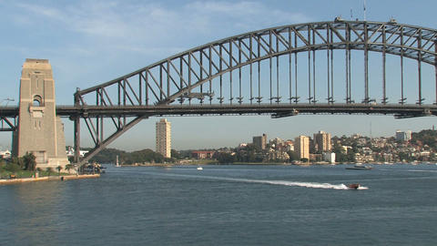 Speedboat in front of the Harbour Bridge Footage