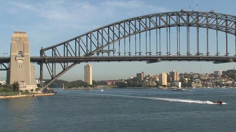 Speedboat in front of the Harbour Bridge Stock Video Footage