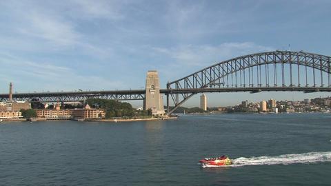 Speedboat in Sydney harbor Stock Video Footage