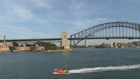 Speedboat In Sydney Harbor stock footage