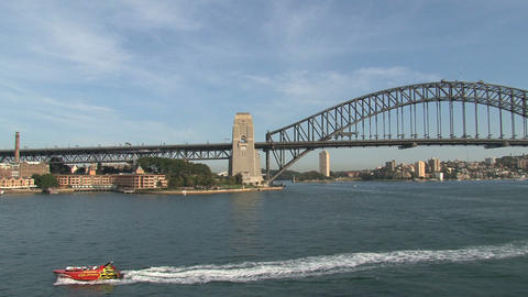 Speedboat in Sydney harbor Stock Video Footage