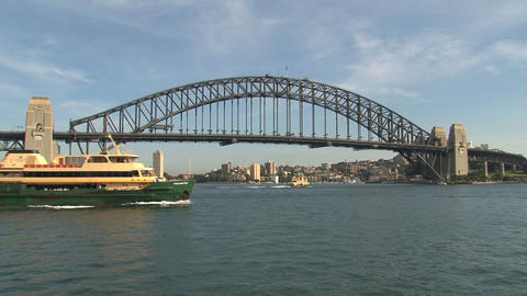 Sydney Harbour Bridge with ferry Footage
