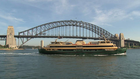 Sydney Harbour Bridge with ferry Stock Video Footage