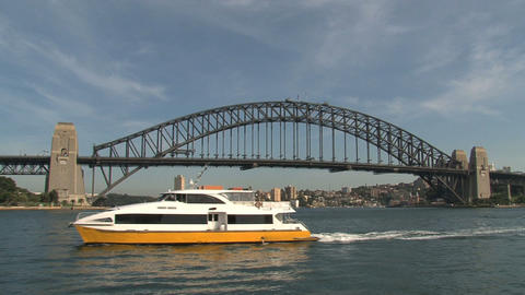 Ferry in front of the Harbour Bridge Footage