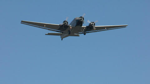 Historic military airplane ju 52 flyover Footage