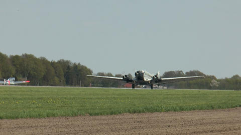 historic airplane ju 52 taking off Stock Video Footage
