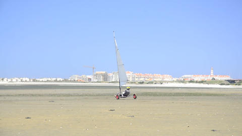 Unidentified participant on a windcar Stock Video Footage