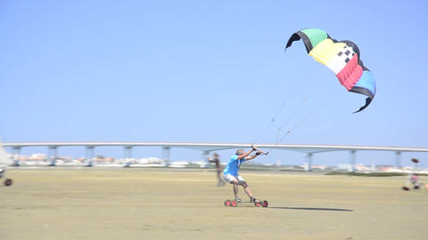 Francisco Costa on a landing kite Stock Video Footage
