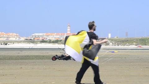 Ricardo Costa on a Kitebuggy Stock Video Footage
